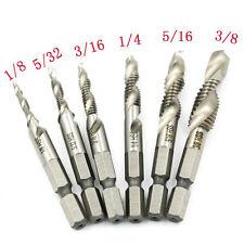 Cool 6PCS Hex Shank High Speed Steel Spiral Screw Thread Taps Drill Bits Set