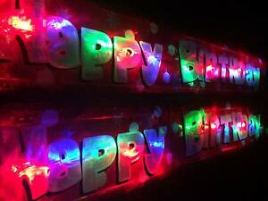 RED Happy Birthday Banner Flashing LED bunting party decorations multi colour
