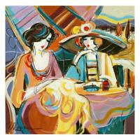 """Isaac Maimon Original Painting """"Girl Moments"""" Signed Acrylic on Paper, COA"""