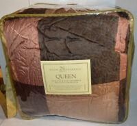 Wellington Block 24 Piece Brown Gold Rose Queen Quilted Bedroom Ensemble