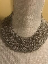 """16"""" Silver  Color  Breaded  Seed Beaded Necklace Chocker Bronze Tone  Clasp"""