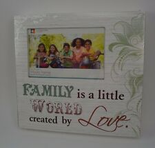 Wood Block Sign Picture Frame Family World Created by Love Photo 4x6 #64