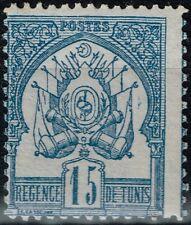 TUNISIE REGENCE DE TUNIS 15c BLEU N° 4 NEUF * GOMME AVEC CHARNIERE TRES FRAIS
