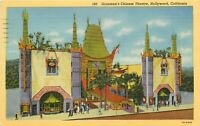 Linen Postcard CA K493 Hollywood Cancel 1948 Graumans Chinese Theatre Streetview
