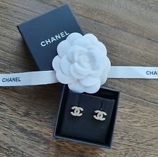 🌟 Chanel 2020 REV Small Light Gold CC Crystal Stud Earrings 🌟