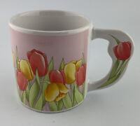 Russ Berrie Spring Tulip Flower Decorated Handle Coffee Mug #8905 Flower Garden