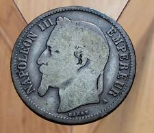 1866 A  France 1 Franc Napoleon III World Silver Coin