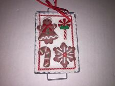 Christmas Holiday Hanging Ornament Baking Sheet with Gingerbread Cookies