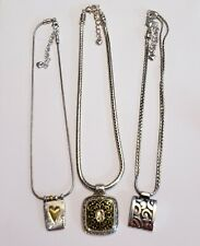 3 Piece Brighton Silver Plate Mixed Pendant Necklace Lot