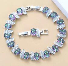 Lovely Rainbow Mystic  Fire Opal Gemstone Topaz Tennis Silver 925  Bracelet