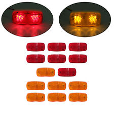 2 x 4 Trailer Marker Light 10 Diodses Each 7 Amber & 7 Red Double Tiger Eye LED