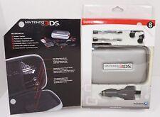 8 PC LOT - NINTENDO 3DS EXPLORER STARTER KIT SILVER CASE EAR BUD CAR CHARGER ETC