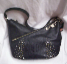 Harley-Davidson Purse, Black Leather W/Embossed Flames, Brand New