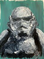 Original Abstract Stormtrooper Star Wars Portrait Palette Knife Painting Art 24""