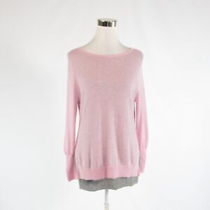 Pink gray 100% cashmere HALOGEN CASHMERE long sleeve boat neck sweater PM