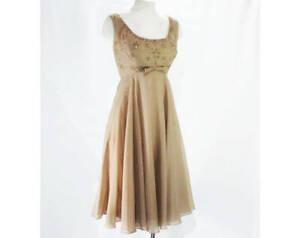 Size 10 Cocktail Dress - Mocha Beaded Chiffon Georgette with Metallic Gold Stitc
