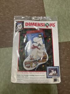 Dimensions 9122 Needlepoint MAKIN NEW FRIENDS Christmas Stocking Kit ~ Sealed