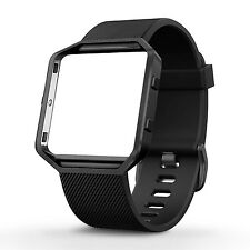 UMTELE Silicone Replacement Band with Gunmetal Frame for Fitbit Blaze Smart F...