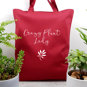 Crazy Plant Lady Garden Houseplant Lover Cotton Tote Bag Gift Present 6 Colours