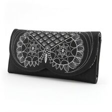 # Loungefly Checkbook Wallet Trifold Black White Owl Bird Floral Faux Leather
