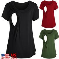 US Women Maternity Clothes Breastfeeding Tee Nursing Tops Short Sleeve T-shirt