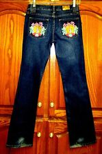 """JUNIOR SZ 3/32 1/4"""" EMBELLISHED BABY PHAT BOOT CUT JEANS W RINESTONES/EMBROIDERY"""