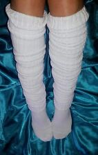 "Long Loose Thigh High Slouch Socks 51"" Over The Knee White Ribbed Knit OTK Boot"