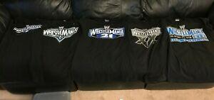 WWE FIVE WRESTLEMANIA Shirt Lot 19 20 21 22 23 Size M Rare WWF XX JOHN CENA
