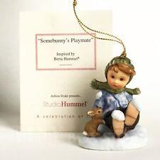 Ornament A Berta Hummel Christmas Somebunnys Playmate boy bunny snow Goebel Mint