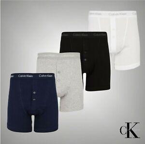 Mens Calvin Klein 2 Button Front Premium Boxer Shorts Underwear Sizes S-XXL