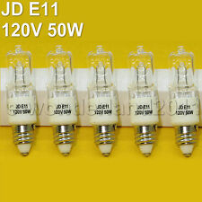 5 x 50W Watt Halogen Light Bulbs T4 JD E11 Mini - Candelabra Base 120V CLEAR