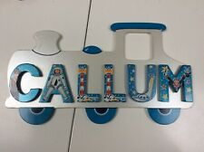 BOYS NAMED CALLUM WOODEN TRAIN LARGE DOOR PLAQUE SIGN WITH LETTERS STICKY PADS