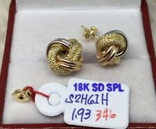 Gold Authentic 18k gold two tone earrings,,xcz