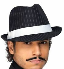 BLACK AND WHITE PINSTRIPED GANGSTER FEDORA HAT - ADULT, ONE SIZE FITS