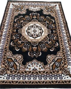 "4x6 Area Rug Black Floral Carpet Floor Covering Mat Home Decor (3'11"" x 5'2"")"