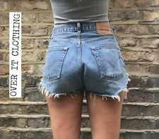 Levis High Waisted Hotpants W30 Size 10 Blue Denim Shorts Jean Grade A