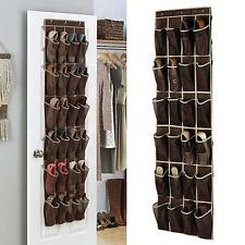 24 Pocket Over The Door Hanging Shoe Rack Organizer Storage Wall Closet Hanger