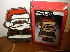 Vintage Tiffany Style Glo-Candle Holder Santa in box