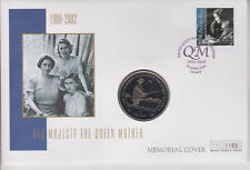 MERCURY GIBRALTAR PNC COVER 2002 QUEEN MOTHER MEMORIAL 1 CROWN COIN & 30P stamp