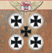 Iron Cross Stickers 50mm Round Hot Rat Rod Vdub Camper Beetle Wheel Centre C