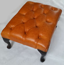 Chesterfield Deep Buttoned Queen Anne Footstool Old English Leather