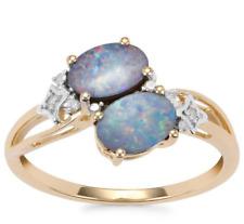Australian Crystal Boulder Opal Duet & Diamond 10K Yellow Gold Ring Size N-O/7