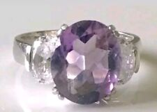 Sterling Silver 4ct Amethyst Trilogy Ring & Cubic Zirconia's Sz7 Faceted Signed