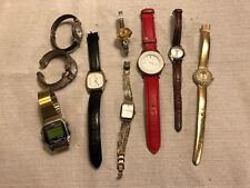 (9) Vintage Watches for Repair Parts Costume Props Timex Sharp Anne Klein Cuff