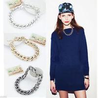 Womens Elegant Shiny Link Celebrity Style Metal Choker Necklace Chunky Bib Chain