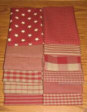 """Dunroven House 12 Primitive Red Homespun  Fabric   10"""" Squares"""