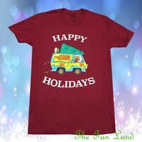 New Scooby Doo Mystery Machine Happy Holidays Christmas Tree Womens T-Shirt