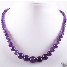 Lovely! 6-14mm Amethyst Round Beads Gemstone Necklace 18""