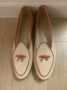 Belgian #5121  Midinette All Calf Loafer In Beige / Red  Size 7 W    $450