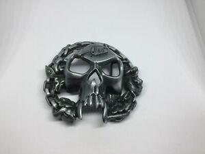 SKULL Motorcycle Chain New BELT BUCKLE Metal Skeleton Bike Chain 666 Logo